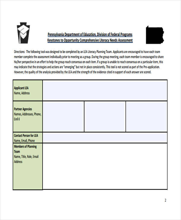 community literacy needs assessment form