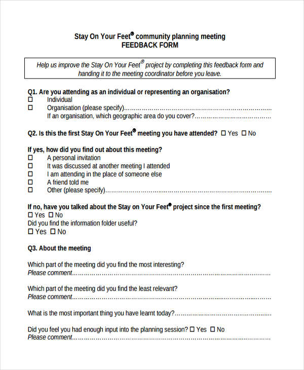Meeting Feedback Form Sample  Free Sample Example Format Download