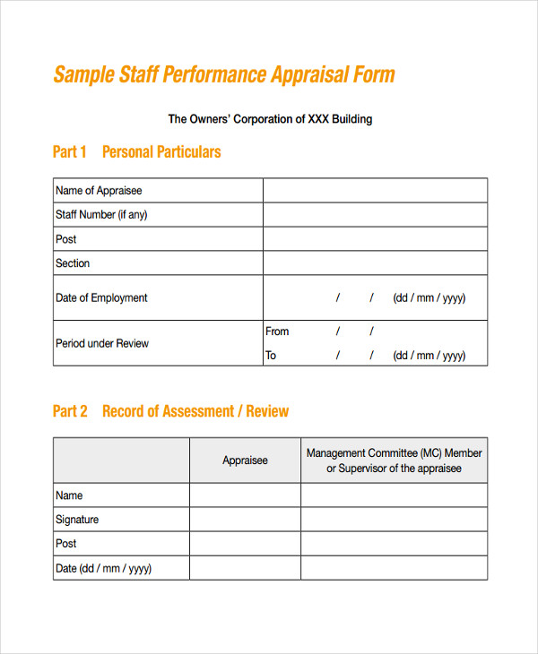 company staff appraisal