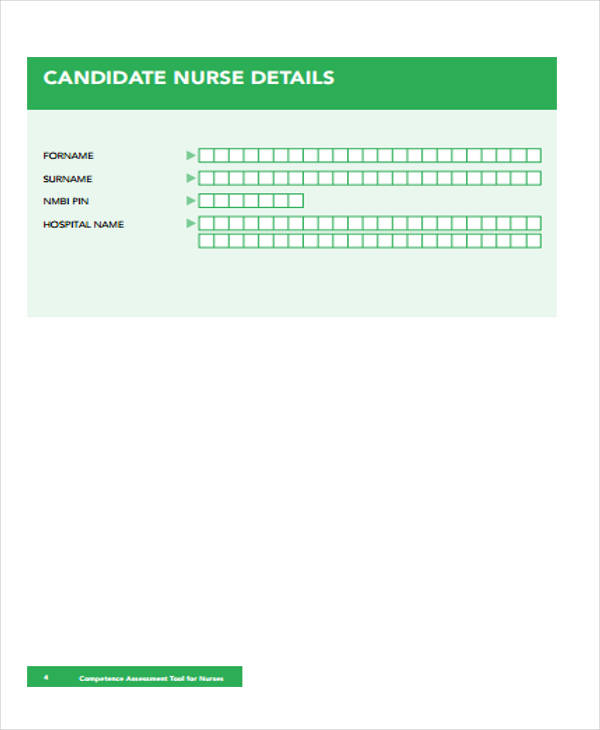 competence nursing assessment tool form