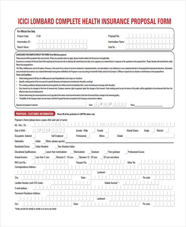 complete health proposal form