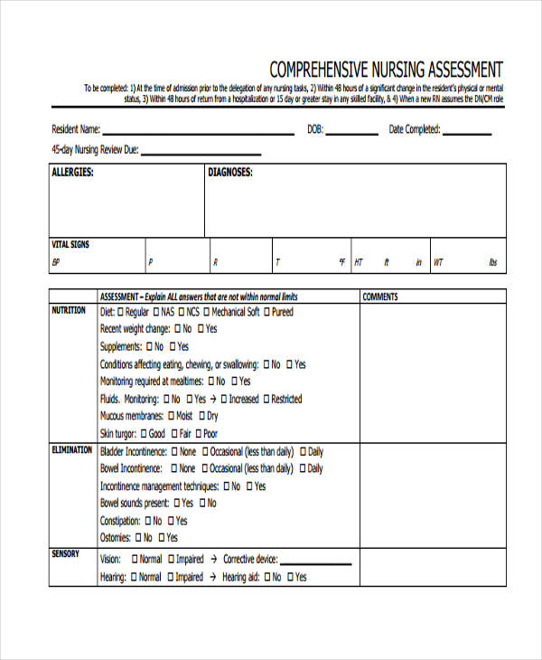 comprehensive mental health nursing assessment form1