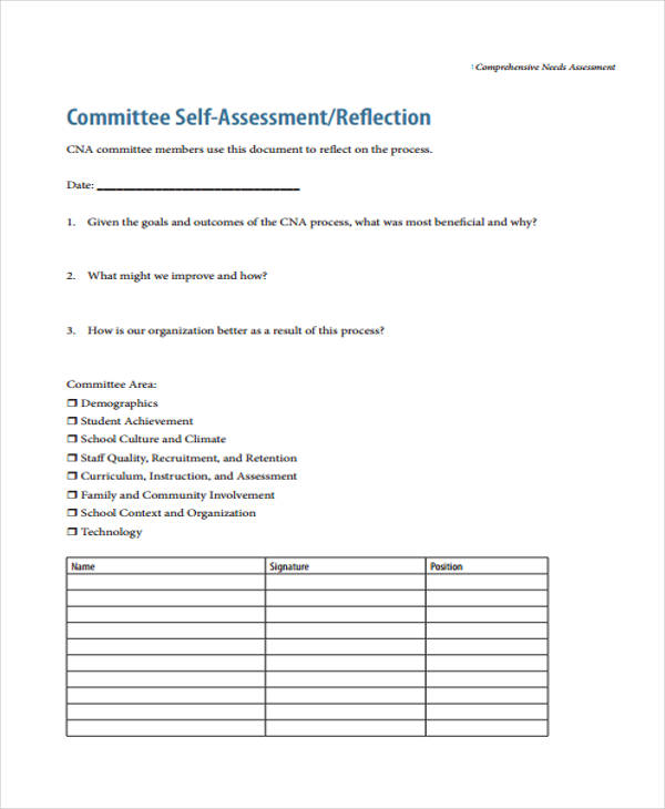 conducting comprehensive needs assessment form