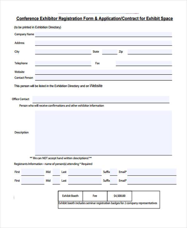 conference exhibitor registration form