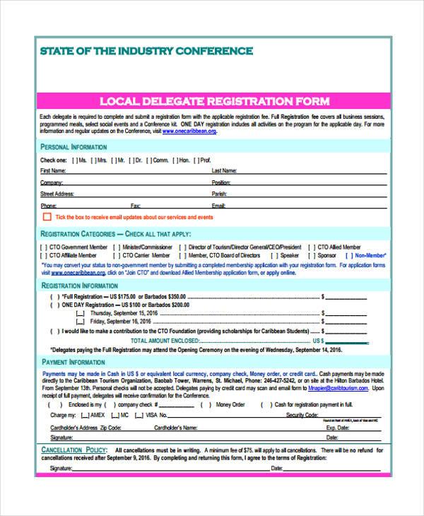 conference local delegate registration application form