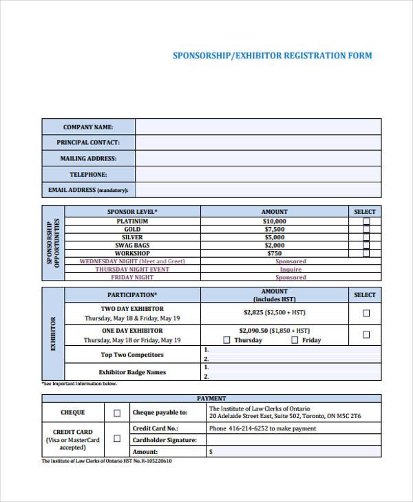 conference sponsorship exhibitor registration form