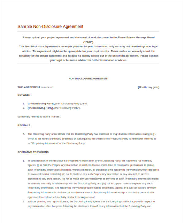 Confidentiality Non Disclosure Agreement Form Free