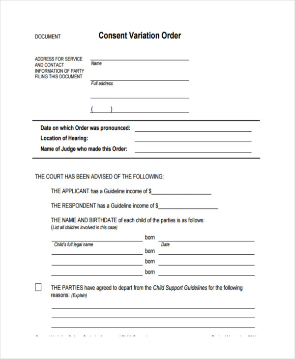 Consent Order Forms  Free Sample Example Format Download