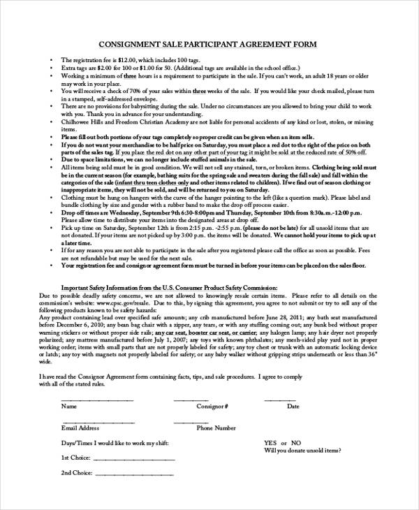 consignment sale participant agreement form1