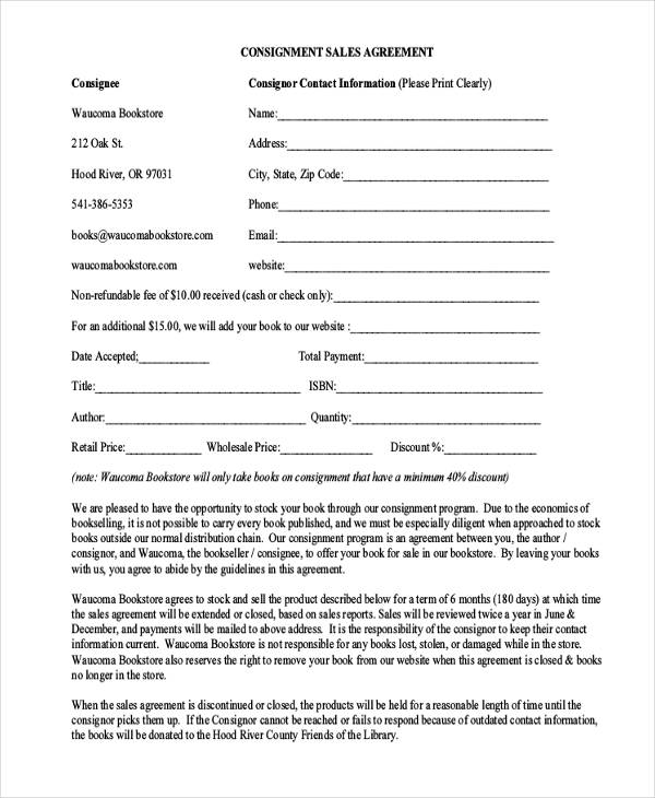 consignment sales agreement form in pdf