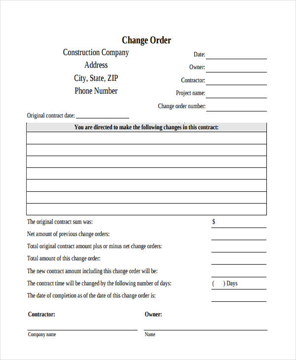 Change Order Form  Free Sample Example Format Download