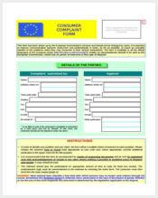 consumer complaint form format