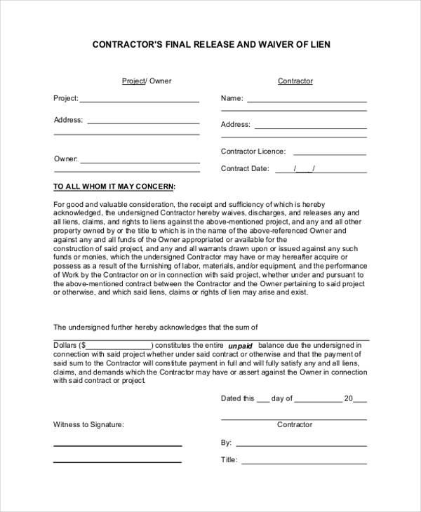 contractor lien form