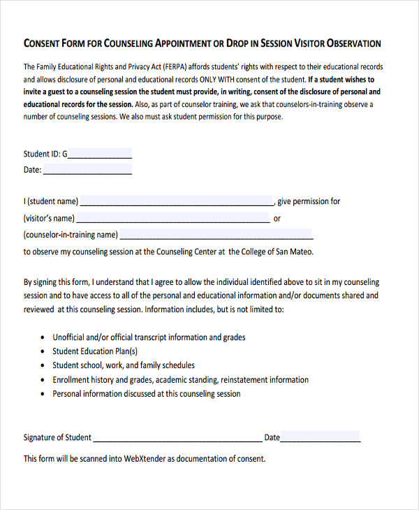 counseling appointment consent form