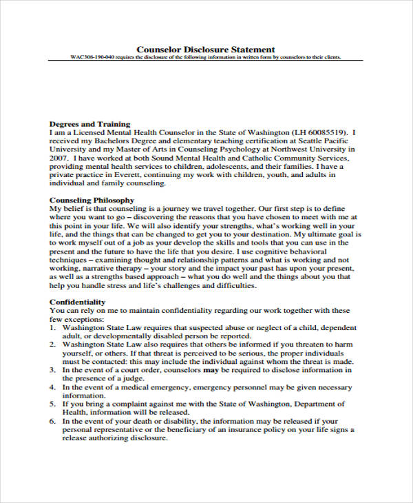 counseling disclosure statement form1