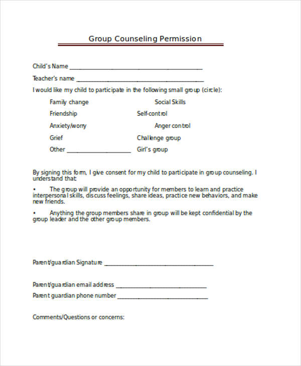 counseling group permission form