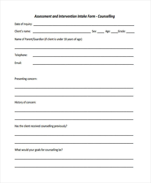 counseling intake assessment form