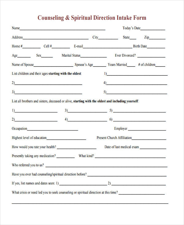 counseling and spiritual direction intake form