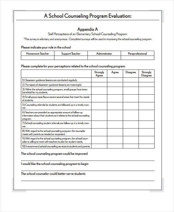 counsellor self evaluation form
