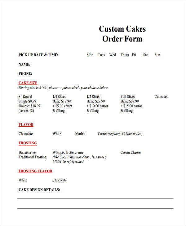 custom cake order