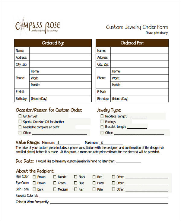 Custom Order Forms  Free Sample Example Format Download