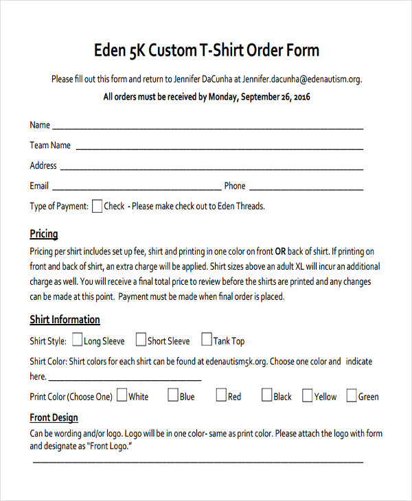 T-Shirt Order Form - 10+ Free Documents In Word, Pdf