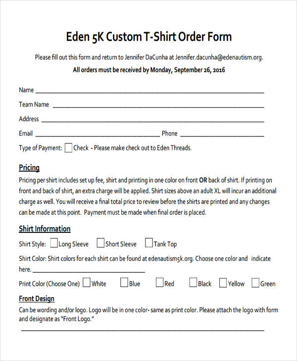 9 custom order forms free sample example format download for Custom t shirt order form