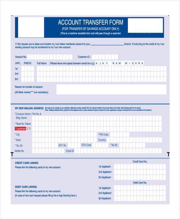 customer accounting transfer