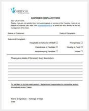 customer hotel complaint form sample