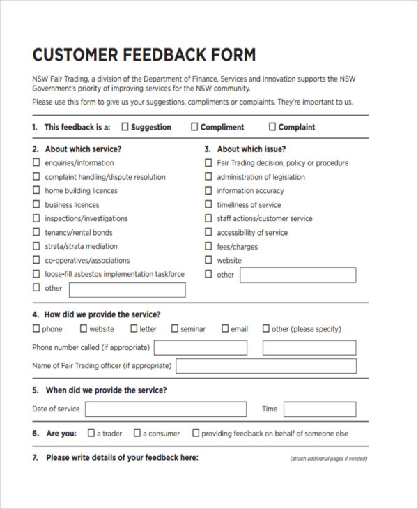 Marvelous Customer Service Feedback Form Template Inside Feedback Forms Template