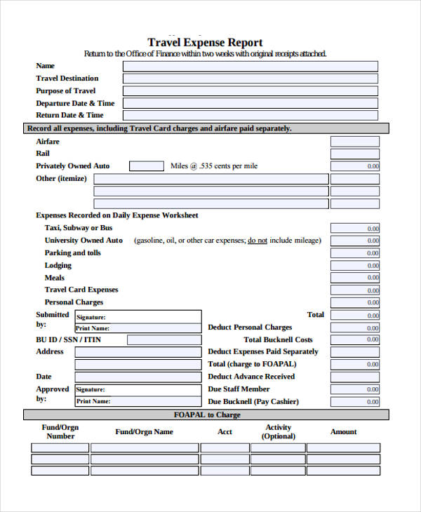 27+ Printable Expense Report Forms
