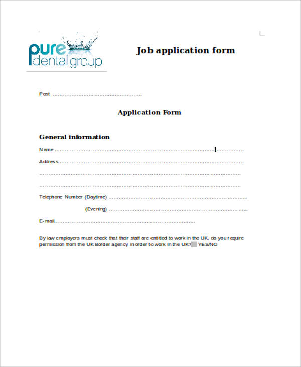 dental job application form