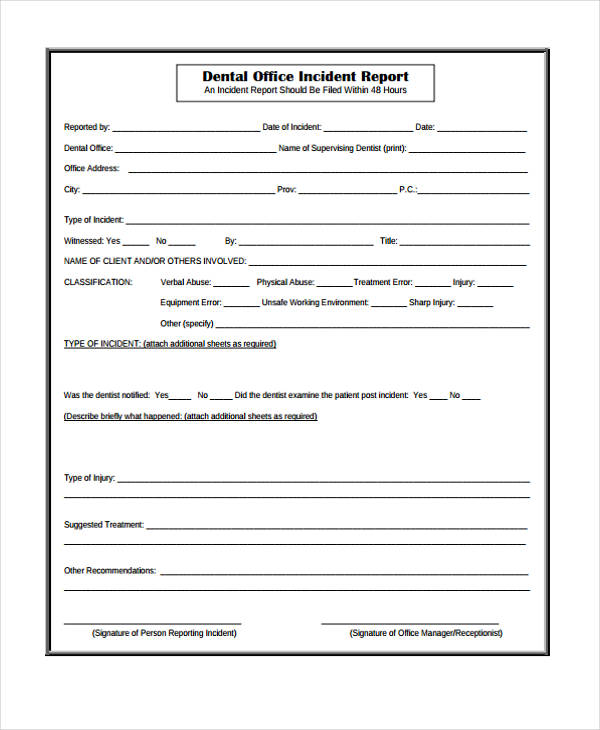 Incident Report Form Incident Report Forms