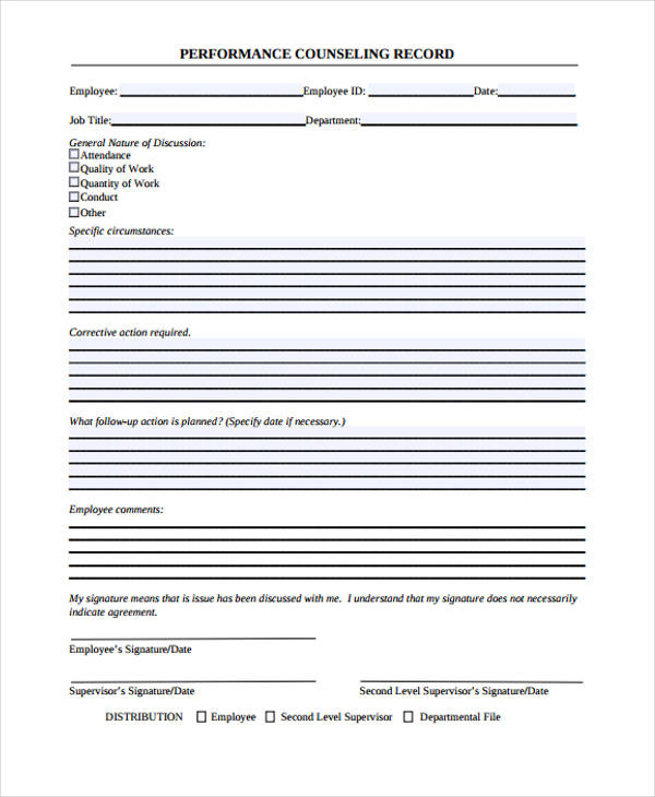 departmental performance counseling form