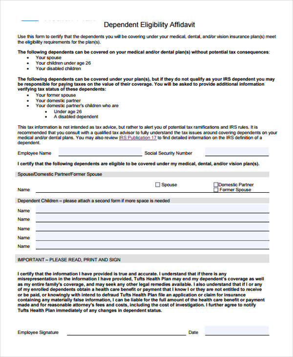 Free 11  Eligibility Affidavit Form In Sample  Example  Format