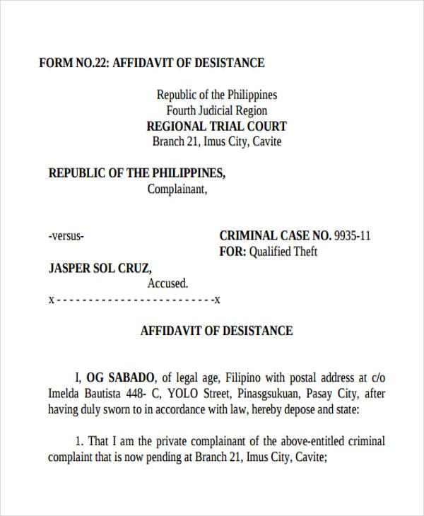 8 legal affidavit forms free sample example format download desistance legal affidavit altavistaventures Images