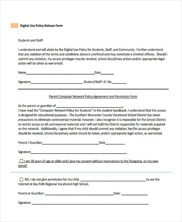 digital use policy release form1