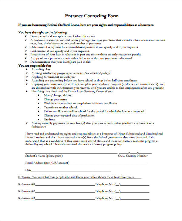 direct loan entrance counseling form