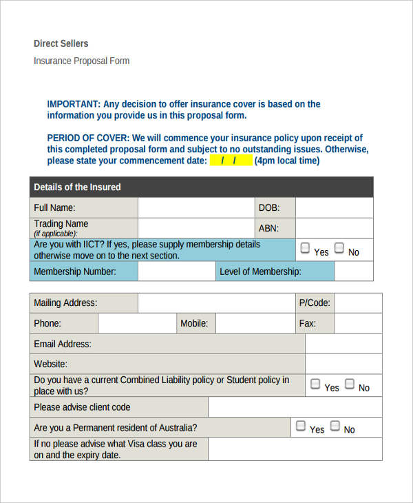 direct sellers insurance proposal form