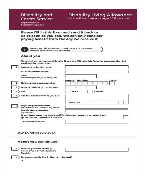 disability allowance application claim form pdf