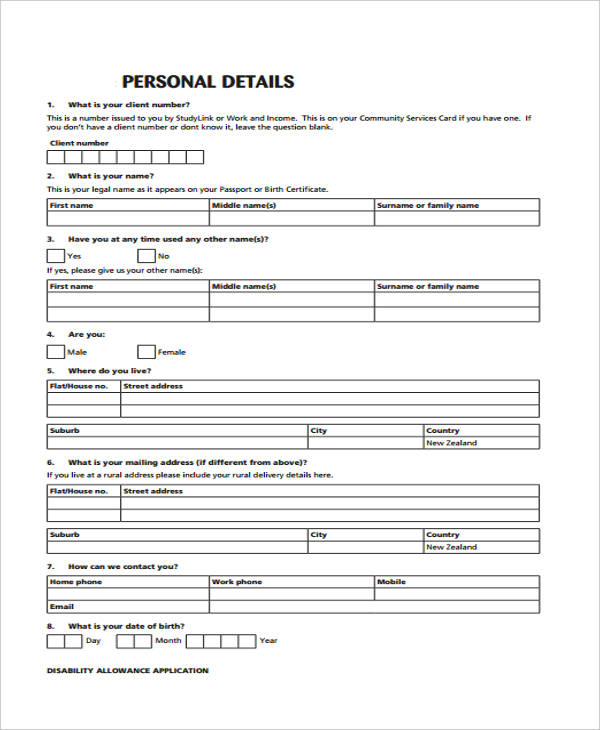 disability allowance request application form