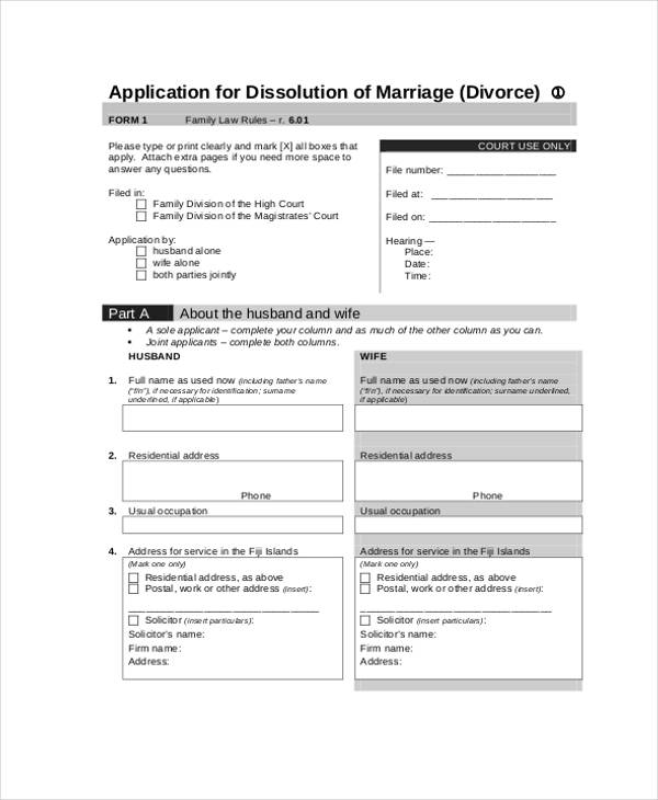 divorce separation application form