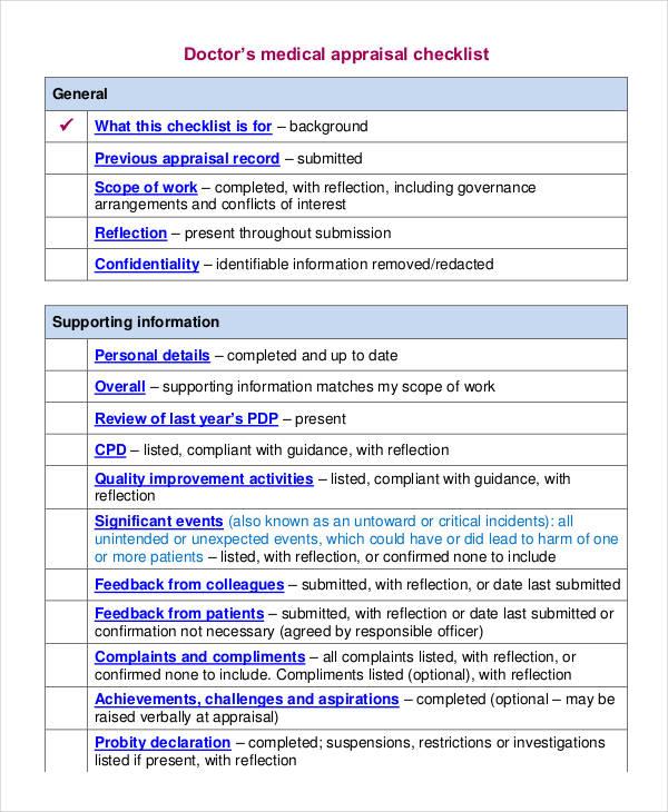 doctors medical appraisal checklist