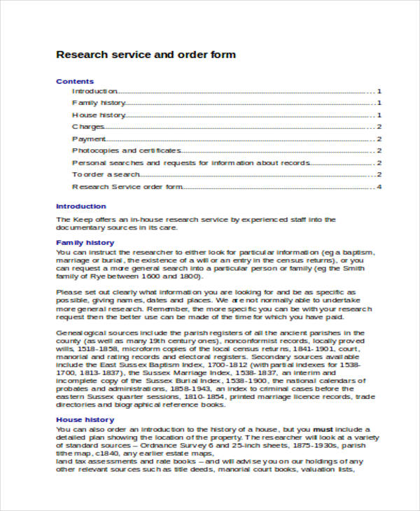 document research service order form