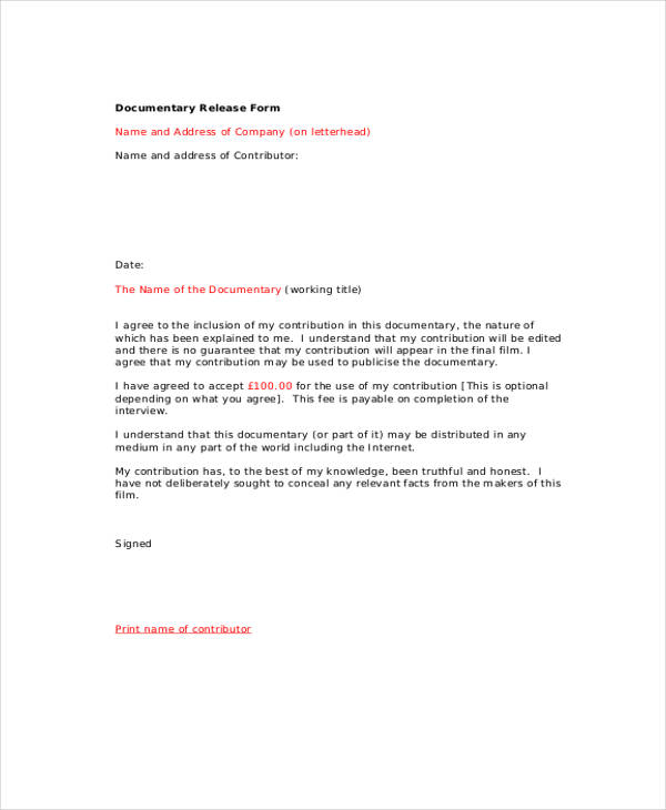 documentary interview release form in pdf