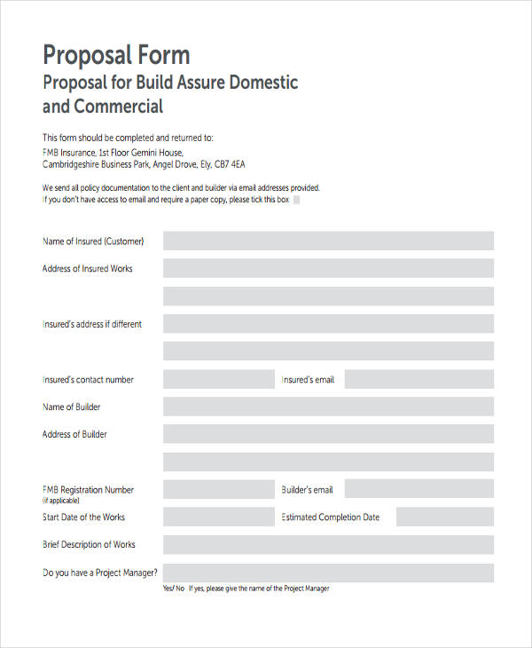 domestic commercial proposal form