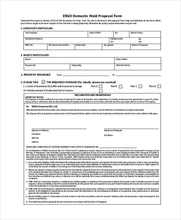 domestic maid insurance scheme proposal form