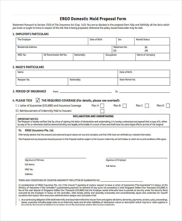domestic maid scheme proposal form