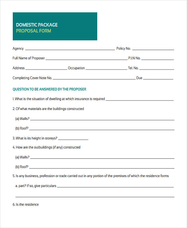 domestic package proposal form3