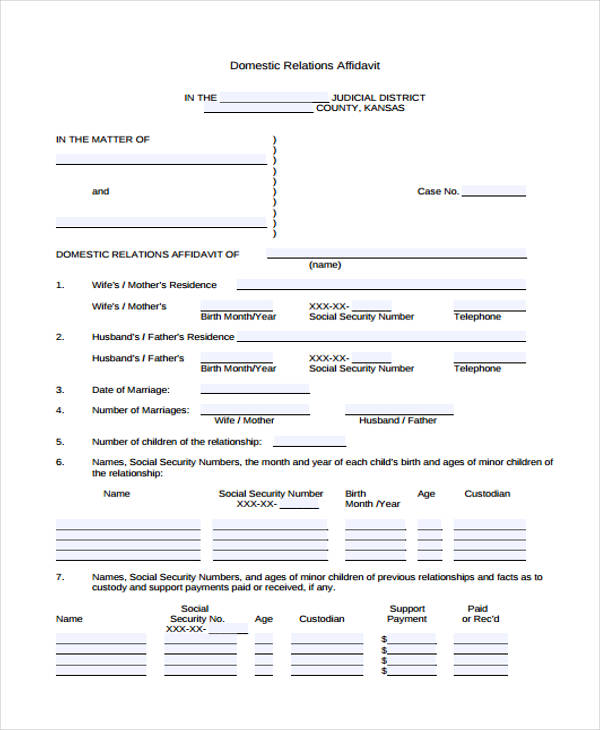 domestic relations affidavit form